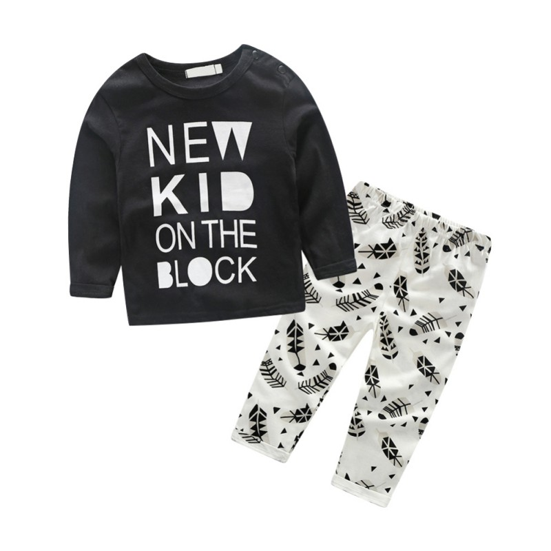 Autumn Baby Boy Cotton Long Sleeve Letter Print T-shirt Tops Cartoon Trousers Outfits Clothes Set