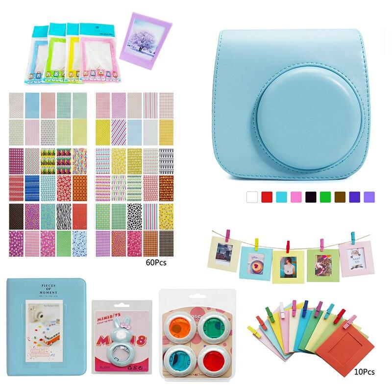 DOITOP álbum autorretrato espejo caso cubierta de piel Shell bolsa Kit de accesorios para Polaroid Fujifilm Instax Mini 8/8 + /9