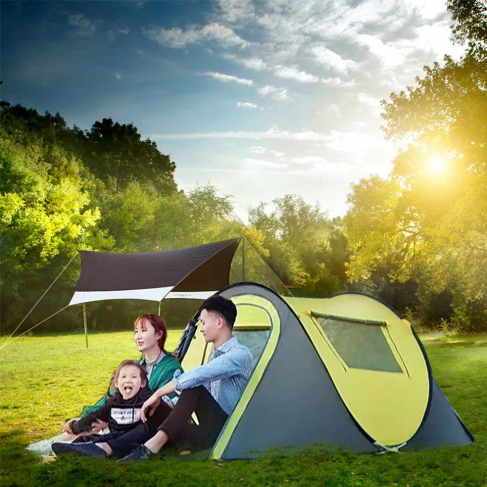 En plein air 3-4persons automatique vitesse ouvert jeter pop up coupe-vent étanche plage camping tente grand espace livraison gratuite - 5