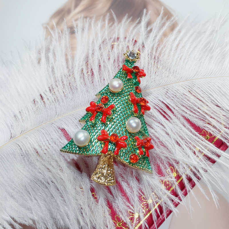 ZHBORUINI 2019 Natural Pearl Brooch Christmas Tree Pearl Breastpin Freshwater Pearl Jewelry For Women Christmas Gift Accessories