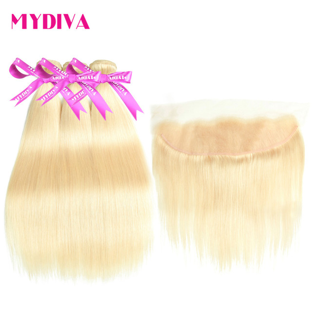 Malaysian Straight Hair Bundles With Lace Frontal Closure 613 Blonde Human Hair 3 Bundles With Closure Remy Extension Mydiva
