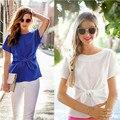 Summer Office Women Shirts Blouses White Pink Blue Elegant Ladies Chiffon Blouse Short Sleeve Women Tops Chemise Femme CJ513