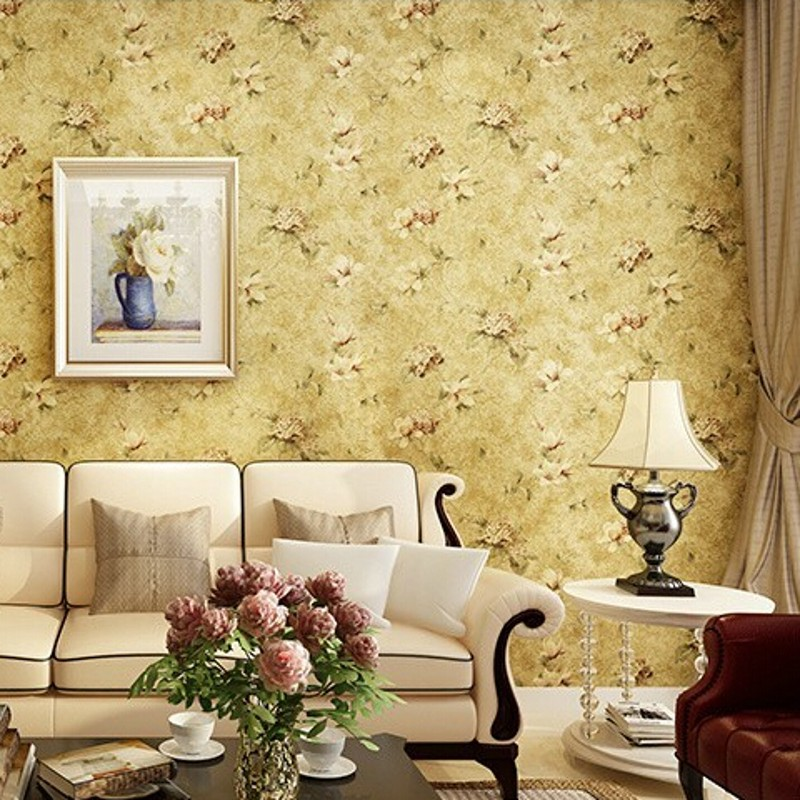 Beibehang Wallpaper American Style Wall Paper Vintage Pastoral Floral  Wallpaper Roll Tapete Non Woven Bedroom