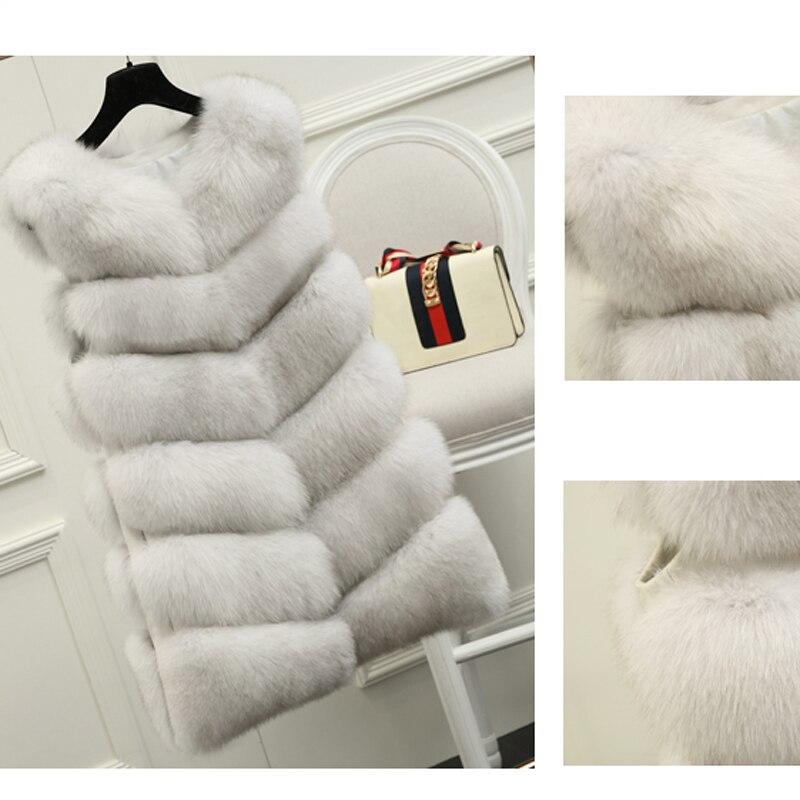 70CM Natural Real Fox Fur Vest New 2019 Winter Long Thick Women Fur Vest Jacket Pockets Real Fur Vest Down Coats For Women 10436