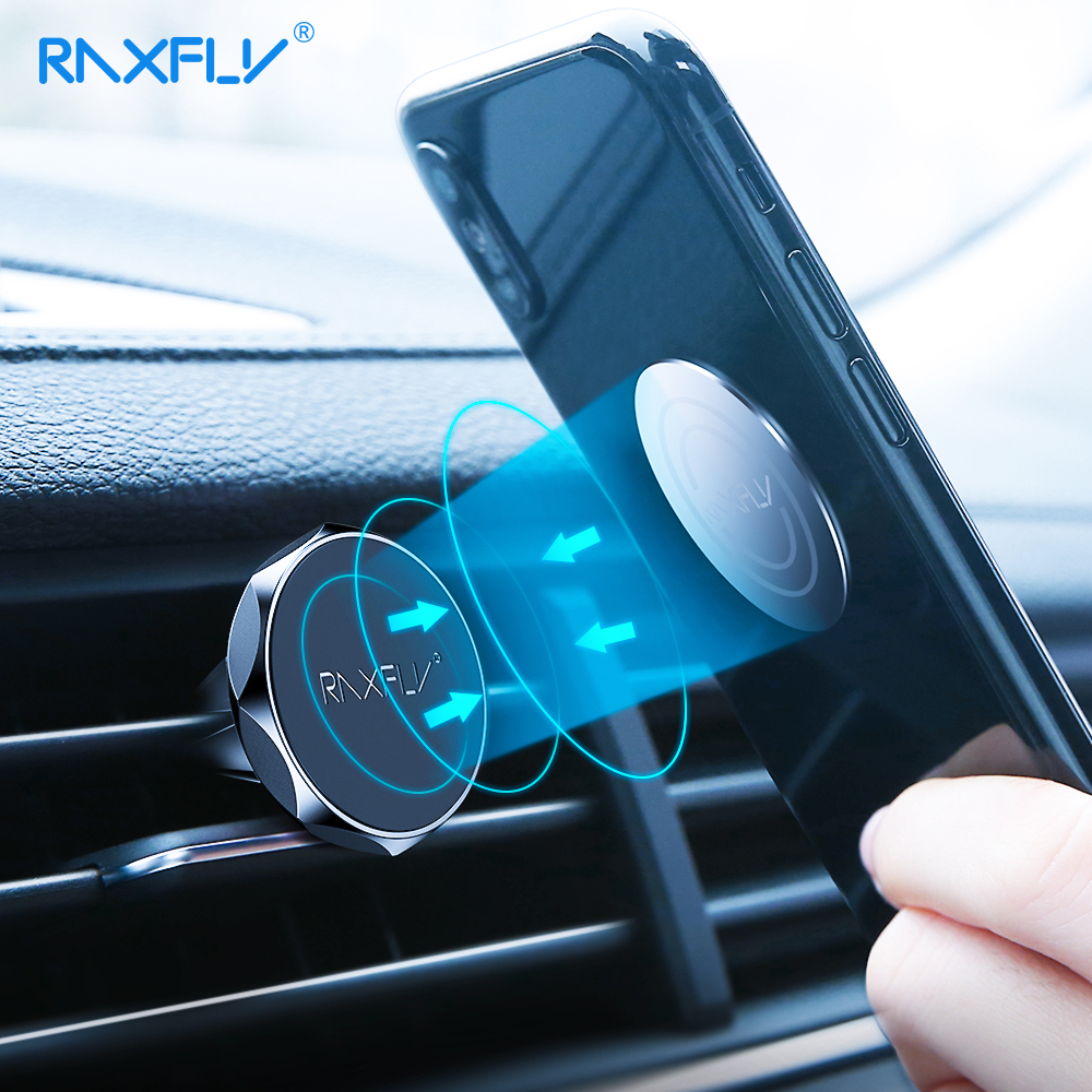 RAXFLY Magnetic Phone Car Holder For IPhone Samsung Car Phone Stand Air Vent Mount Magnet Phone Holder In Car For Xiaomi Redmi