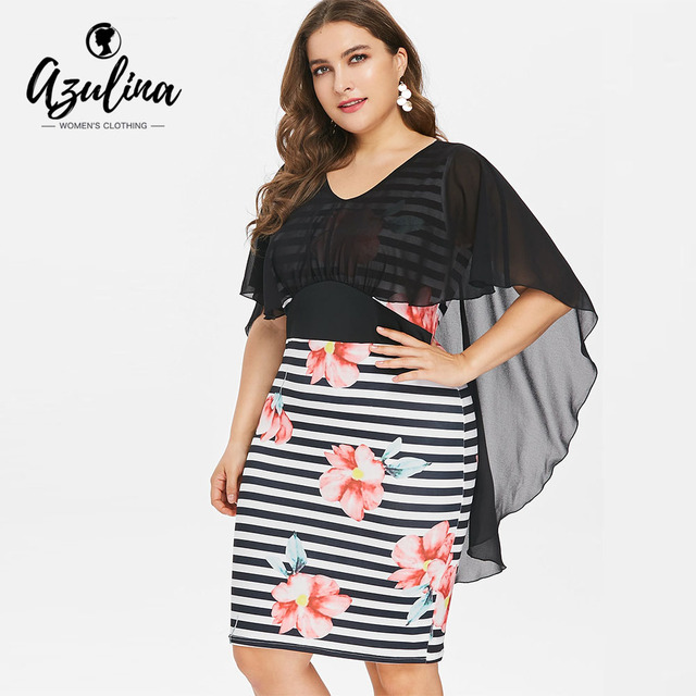 aa3d8d7abd AZULINA Plus Size Floral Striped High Low Caplet Bodycon Dress Summer OL  Party Dress Vestidos Summer V-Neck Half Sleeves Dresses