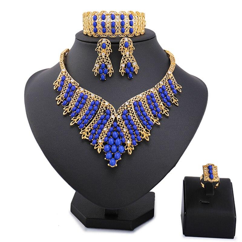 Free Shipping Bridal Gift Nigerian Wedding African Beads Jewelry Set Fashion Dubai Gold -color Jewelry Set Costume for Women цена