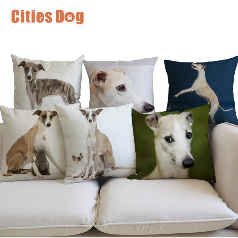 Linen Pillow Cushion Animal Whippet Dog Decorative Pillows Cushions Home Sofa Cojines Coussin Hotel Cafe Office Car Almofada