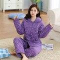 100% Algodão Princesa de Inverno das Mulheres Sleepwear Pijama lindo bonito outono inverno quente espesso Conjunto Doméstico casual Frete Grátis