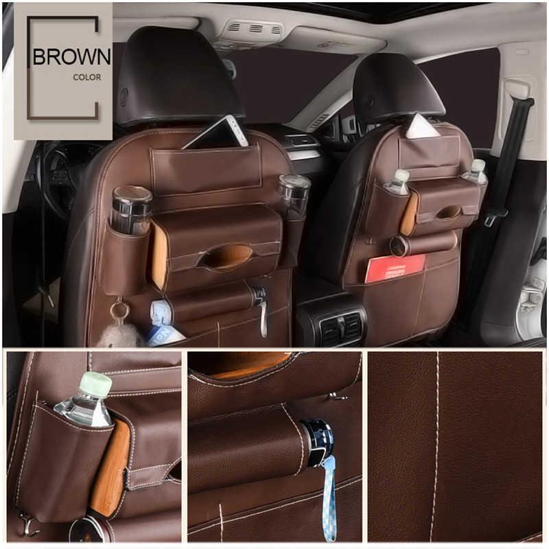 Заднем сиденье автомобиля сумка для хранения Организатор путешествий Box карман искусственная кожа Universal закладочных уборки протектор дети пьют авто аксессуары автотовары для авто