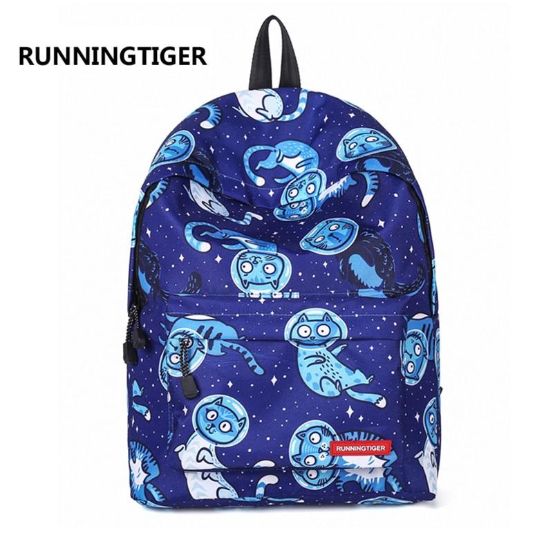 Blue Cartoon Cat Starry Sky Printing Women Travel Laptop Backpack Teenager Schoolbag Casual Rucksack Weekend Bag Daypack Mochila