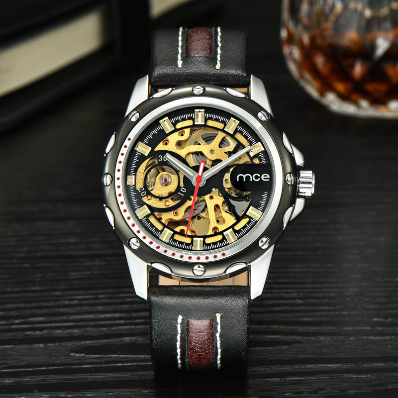 MCE Brand Watches Men Genuine Leather Clock Famous Male Casual Mechanical Watch Man Business Wristwatch Relogio