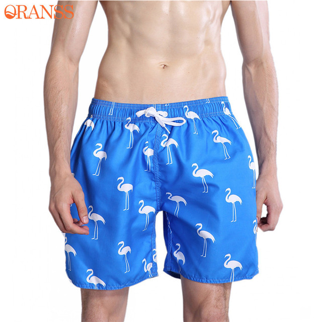 032d8cfd26 Men's Beach Shorts Flamingo Print Summer Quick Dry Shorts Mesh Lining  Pockets Swimming Trunks Drawstring Board Shorts