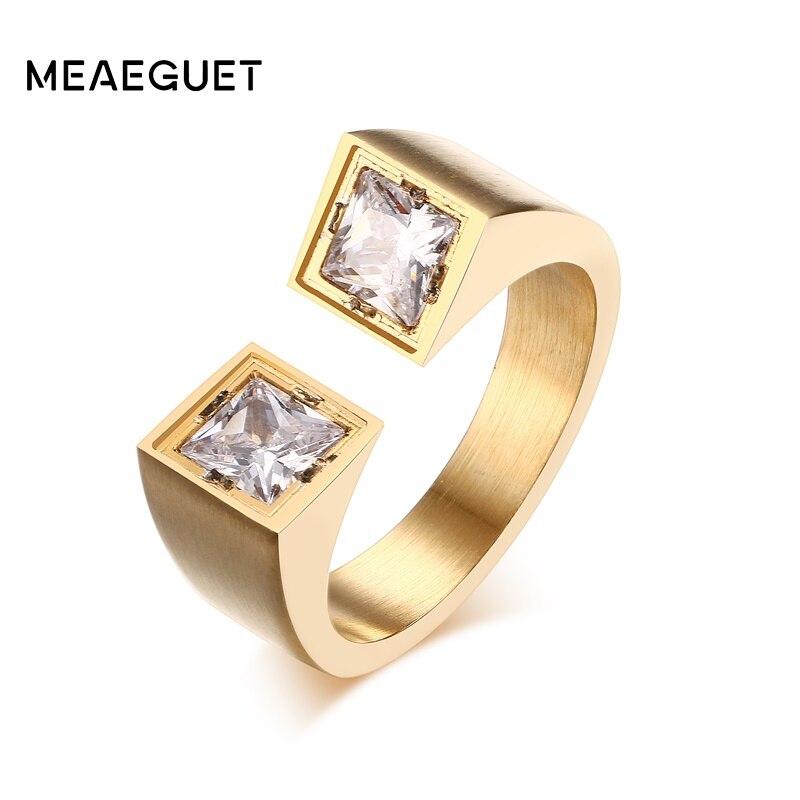 Prix pour Meaeguet Bijoux En Acier Inoxydable Anneaux Unique Ouvert Manchette Anneaux Zircon Femmes de Bijoux De Mode Anneau Anillos