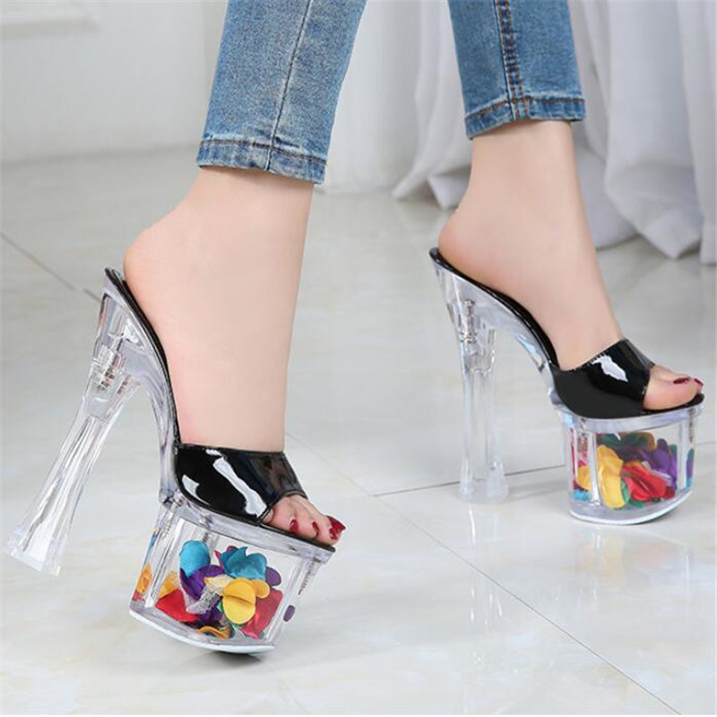FeiYiTu Women Super <font><b>High</b></font> <font><b>Heel</b></font> Crystal <font><b>17</b></font> <font><b>CM</b></font> Wedge Waterproof Platform non-slip Thick Bottom Sexy Super <font><b>High</b></font> <font><b>Heel</b></font> Sandals image