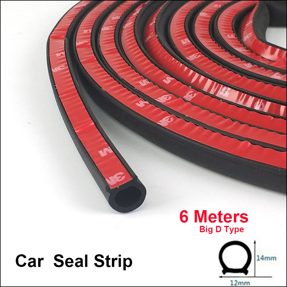 6 Meters 12*14MM Auto Door Sealing Strip Big D Type Rubber Seals Anti-noise For BMW E39 E46 E60 E90 X1 X2 X3 X5