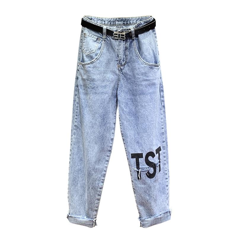 Dei Alta Fly Tasche Blu Distressed Streetwear A Stampato Lettera Donna Blue Sbiancato Etero Zipper Vita Button Jeans dnrr716