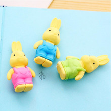 27pcs/lot Cute Double leaf Bunny rubber design Eraser For Kids Lovely  Cute Stationery Children Gift