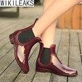 Wikileaks 2016 Borgonha Senhoras Plataforma Tornozelo Rainboots de Borracha Das Mulheres Sapatos de Mulher Saltos Baixos Deslizar Sobre Apartamentos Com Sapatos Botines Muje