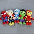 Free shipping 5pcs/lot 30cm=11inch The Avengers Hulk Thor Captain America Iron Man Stuffed Plush Toys Stuffed Soft Dolls