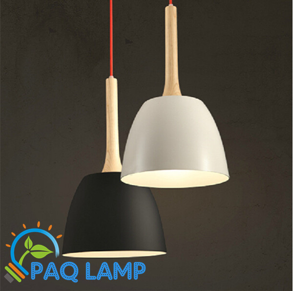 Modern lamps pendant lights Wood and aluminum lamp black/ white lampshade red wire bar coffee dining room LED light fixture retro style chandeliers lamps wood and iron black cage lampshade pendant bar coffee dining room led hanging light fixture