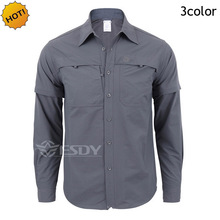 Top Quality ESDY TAD Quick-drying Removable Sleeve Dress Men's Shirt Breathable Slim Fit Combat Military Traning Cargo Shirts