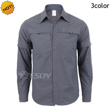 0318b935c3d2 Top Quality ESDY TAD Quick-drying Removable Sleeve Dress Men s Shirt  Breathable Slim Fit Combat Military Traning Cargo Shirts