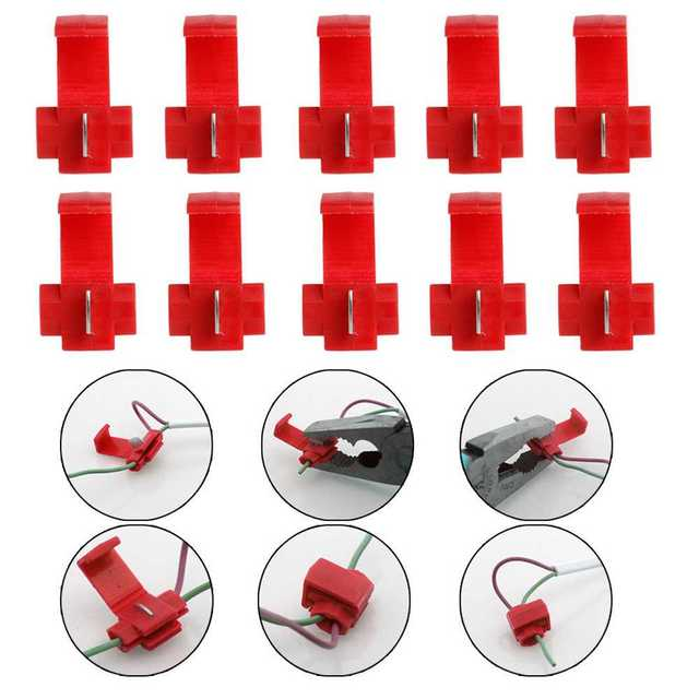 50pcs Red/Blue Electrical Cable Connector Quick Splice Lock Wire Terminals Crimp High Quality