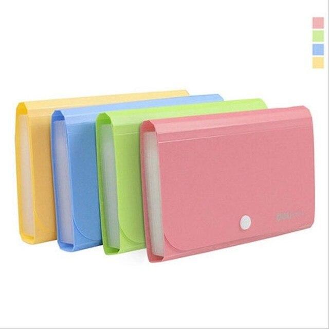 JUKUAI 1Pcs Plastic Candy Color A6 Document Bag File Folder Expanding  Wallet Bill Folder Office Supplies