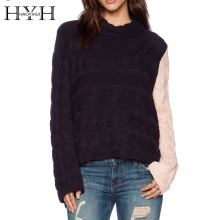 HYH HAOYIHUI 2016 Brand New Autumn Women Fashion Knitting Pullover Street Style Loose Contrast Long Sleeve Casual Sweater