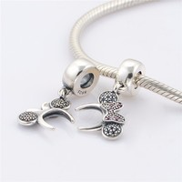Fandola 100 925 Sterling Silver Bow Headband Dangle Charms Beads For Jewelry Making Fits Women Diy