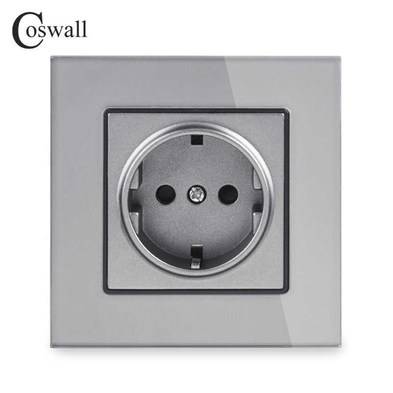 Coswall קיר גביש זכוכית פנל כוח שקע תקע מוארק, 16A האירופי תקן חשמל לשקע 86mm * 86mm