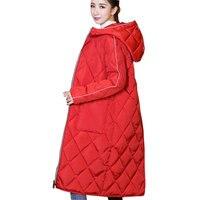 Donne Extra Lungo Giù Cotone Cappotto Invernale Nuovo 2017 Con Cappuccio Plus size Antivento Femminile Parka di Spessore Moda Slim Lady Jacket M61