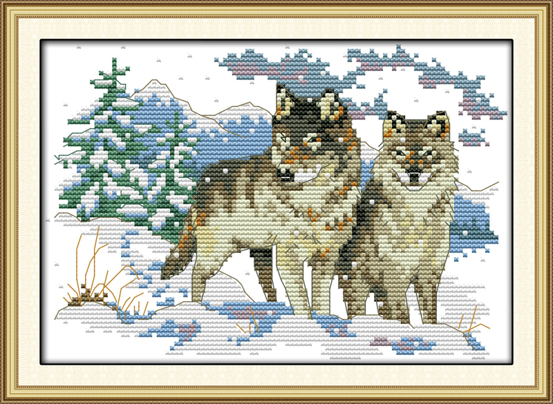 Wolf pup, counted printed on fabric DMC 14CT 11CT Cross Stitch kits,embroidery needlework Sets, Home Decor