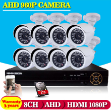 8ch CCTV system HD 1080p 960P 720P Home Security DVR Video Recorder kit 8pcs 1.3MP IR CUT Waterproof Security Camera System