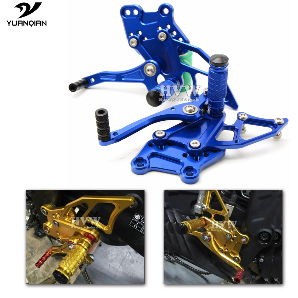 For Yamaha YZF R3 R25 R300 R250 YZF-R25 YZF-R3 2013 2014 2015 2016 Motorcycle Footrest CNC Adjustable Rearset Rear Set Foot Pegs yzf r3 yzf r25 cnc aluminum adjustable shift lever for yamaha yzf r3 2014 2015