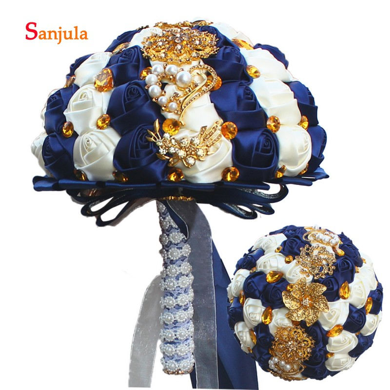 Navy Blue and Ivory Color Mixture Wedding Bouquet 2019 Newly Sparkle Crystals Gold Metals Wedding Accessories casamento WB15