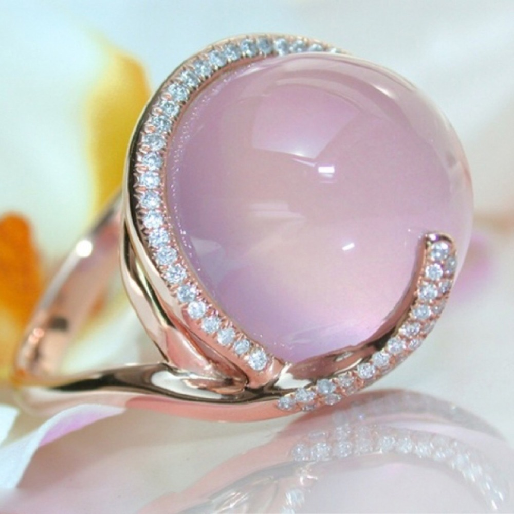 Moonrocy Rose Gold Color Cz Ross Quartz Crystal Pink Opal