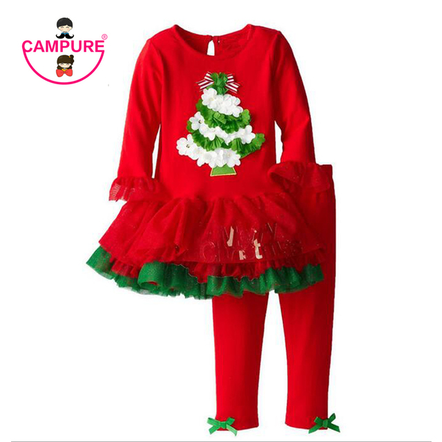 2016 Children Clothing Sets Christmas Tree Girls Long-Sleeve Red Tutu Dress+Bow Pants 2pcs 2-7Yrs Christmas Baby Girls Clothes
