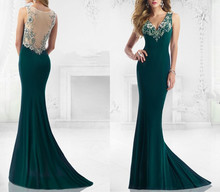 2015 new abendkleider Mermaid elie saab Vestidos longos Formal Sweep Train Evening Gowns Trumpet robe de soiree Dresses