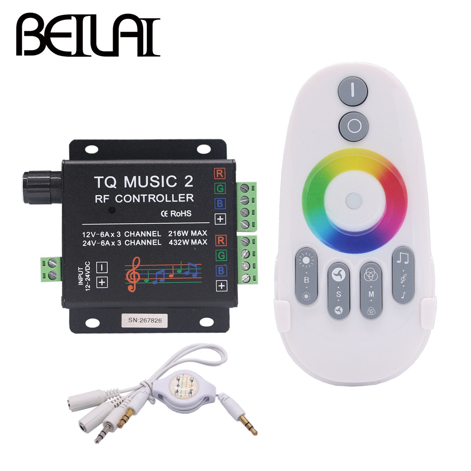 BEILAI DC 12V 24V Support WIFI Music RGB LED Controller RF Audio control 18A 3 Channel Music 2 LED RGB Controller For LED Strip nixon часы nixon a425 1896 коллекция time teller