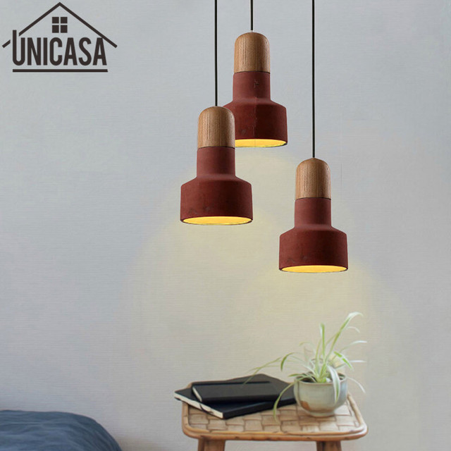 Vintage industrial cement shade wooden bulb holder hotel pendant vintage industrial cement shade wooden bulb holder hotel pendant light red mini lighting bar antique mini aloadofball Image collections