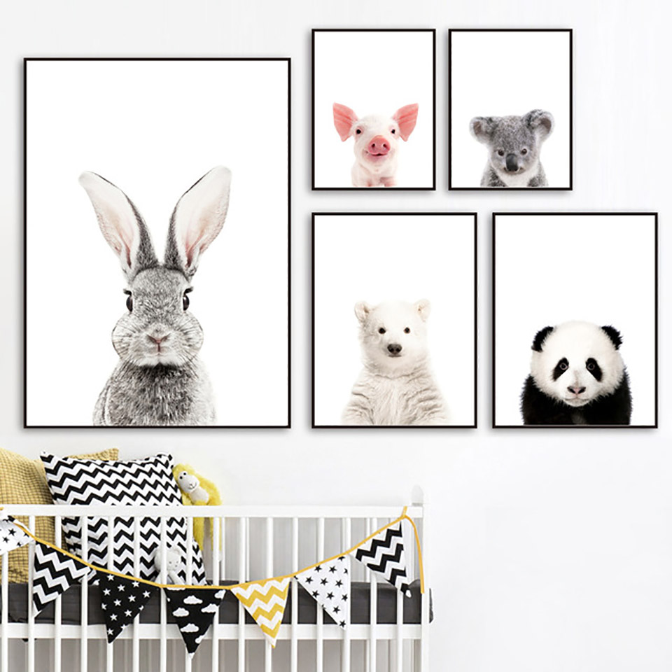 Animal Posters Pictures Canvas Painting Wall-Art Prints Panda-Koala Nordic-Style Kids