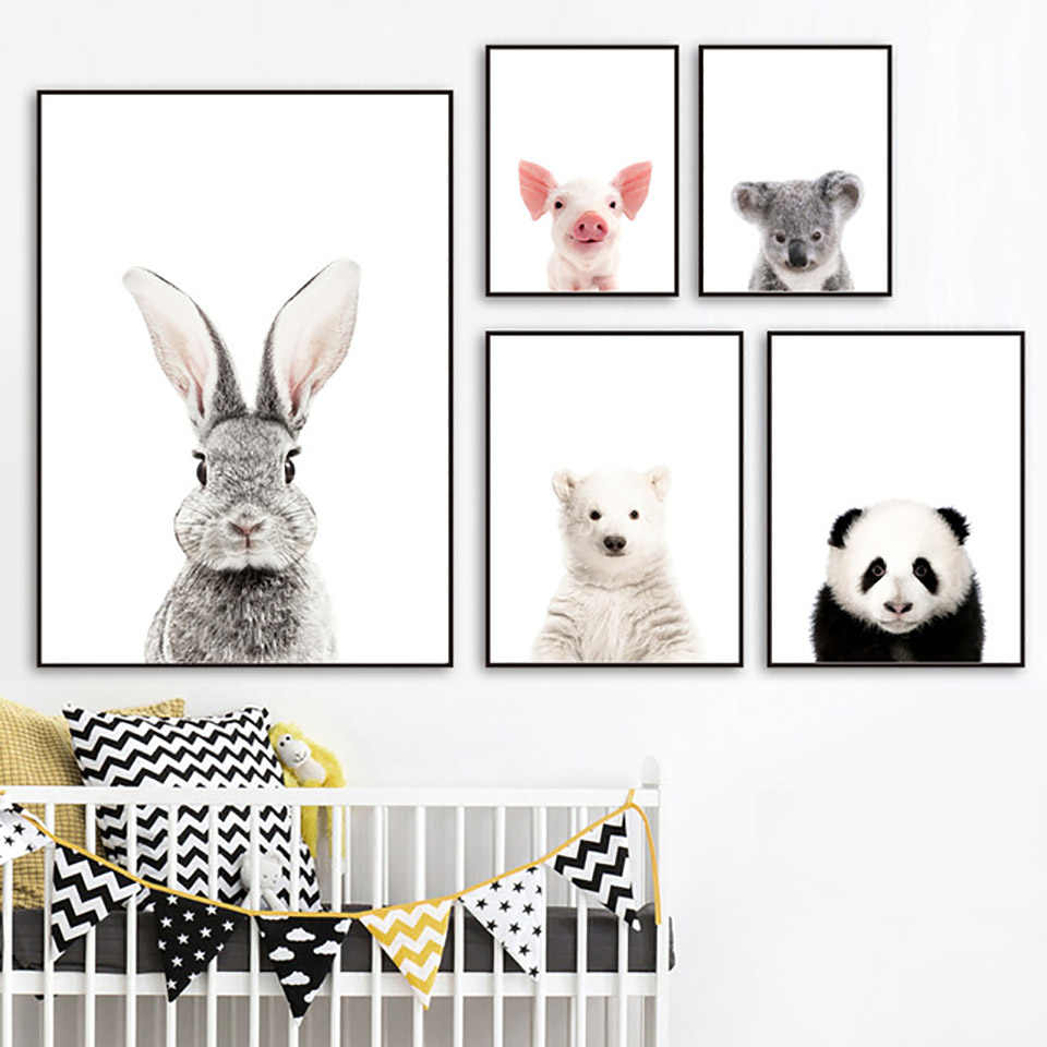 Canvas Painting Nordic Style Prints Rabbit Pig Panda Koala Pictures Home Wall Art Modular Animal Posters For Kids Room Decor