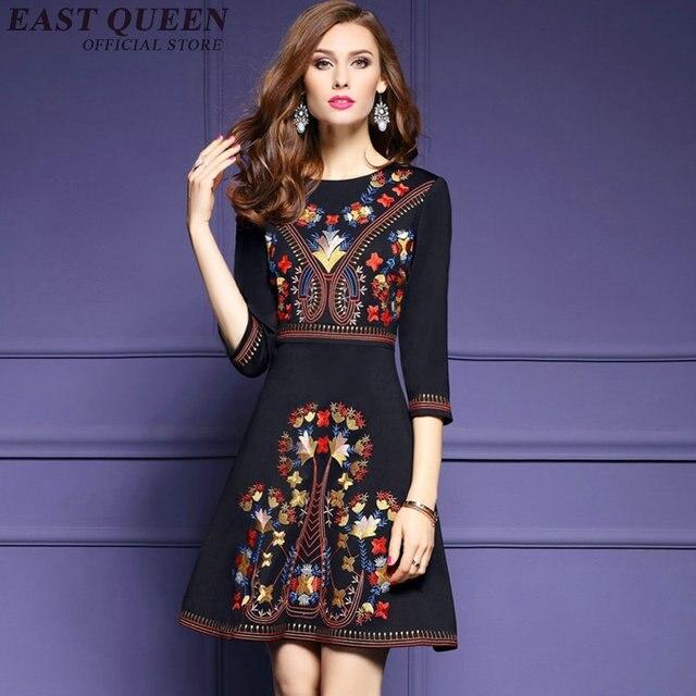 804290119ae7d Messicano ricamato vestito donna nero vestito messicano hippie di boho chic  vestiti delle signore tunica boho