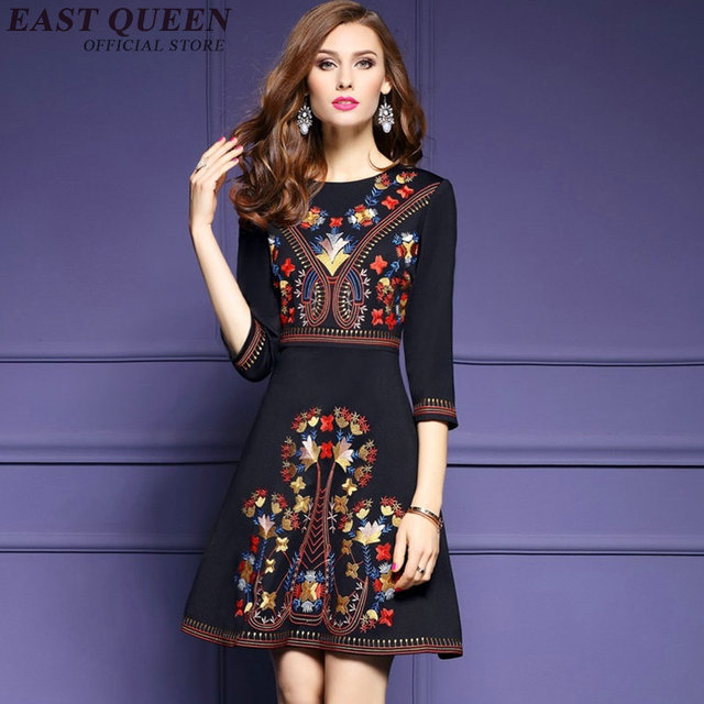 Mexican embroidered dress woman black mexican dress boho chic dresses  ladies tunic boho style dresses NN0211 - Mexican Embroidered Dress Woman Black Mexican Dress Boho Chic
