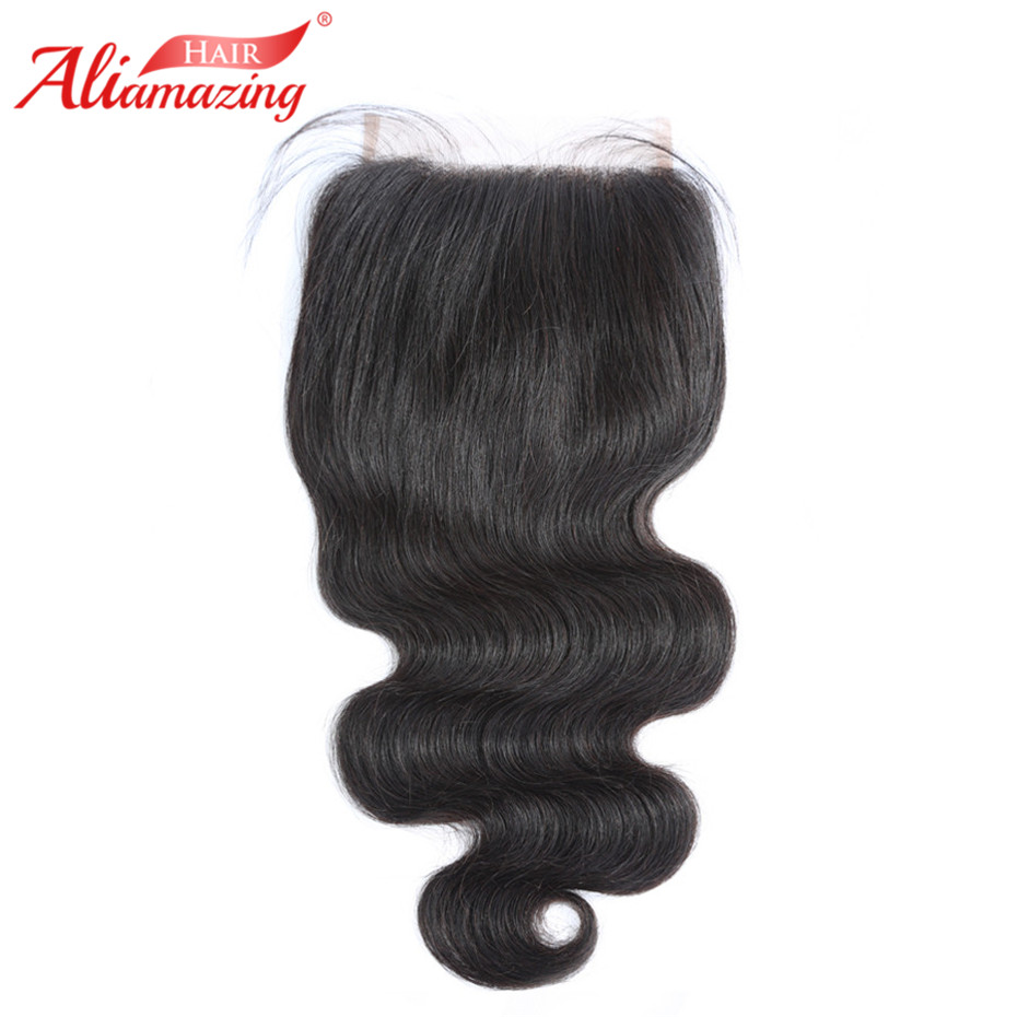 Ali Amazing Hair Brazilian 4X4 Lace Closure Hair Body Wave 100% Remy Human Hair Closure Free Part Bleached Knots With Baby Hair
