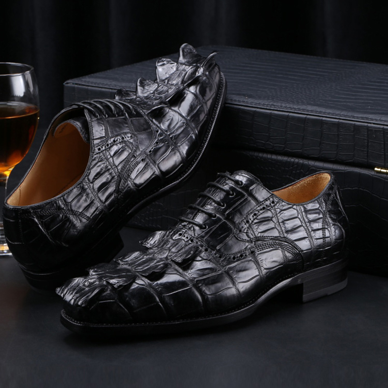 Top Quality Crocodile Skin Men's Dress Shoes Genuine Leather Brogue Shoes Luxury Brand Balck Loafers Oxford Shoes Mens Custom