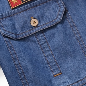 Image 3 - Envmenst Brand Clothing Denim Shirts Men Casual Long Sleeve Tops Fashion Slim Camisa Jeans mMale Blouses 4XL US European Style