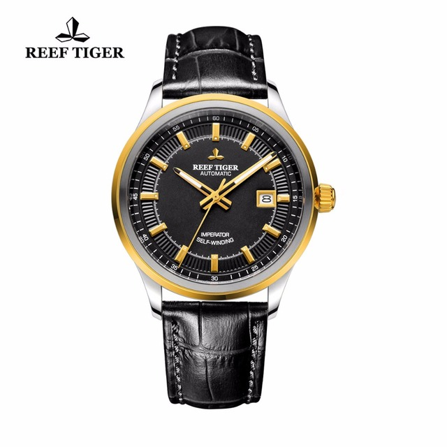 Reef Tiger/RT Dress Business Watch For Men Miyota 9015 Super Luminous Watches with Date Steel Yellow Gold Watch RGA8015